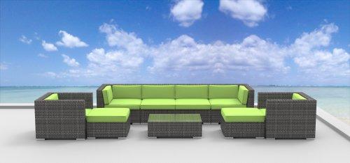 UrbanFurnishing.net 9a-fiji-limegreen 9 Piece Modern Patio Furniture Sofa Sectional Couch Set