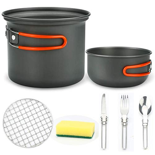 Jhua Camping Cookware Mess Kit, Outdoor Poartbale Backpacking Bowl Set Camping Picnic Pot Sets with Pan Bowl, Spoon, Fork, Knife, Outdoor Camping Hiking Cooking Use
