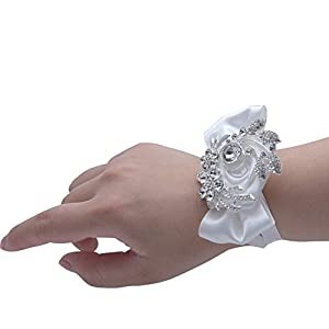 USIX Luxurious Crystal Rhinestone Brooch Wrist Corsage Hand Flower for Prom Wedding Party Bridal Accessories (White W-Silver Brooch) 15