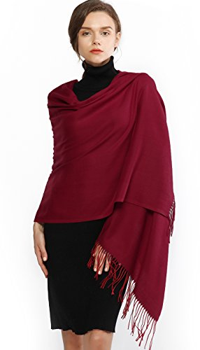 Cashmere Winter Warm Scarf Pashmina Shawl Wrap for Women and Men Burgundy Long Large Soft Scarves