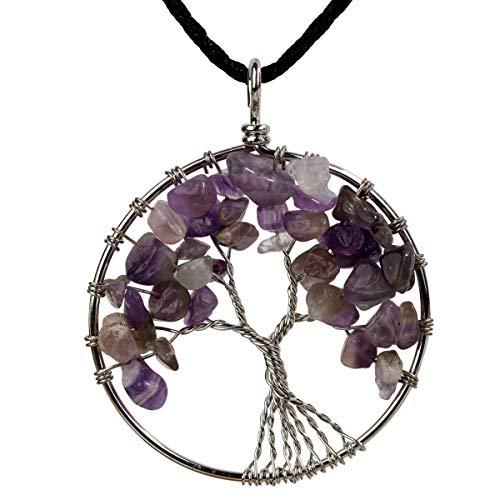 YACQ Amethyst Tree of Life Charm Gemstone Pendant Necklace Wire Wrapped Filigree Purple Feburary Birthstone Healing Chakra Spiritual Raw Stone Handcrafted Jewelry for Women 18