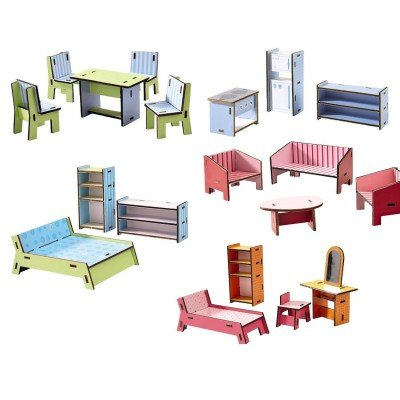 HABA Little Friends Deluxe Dollhouse Furniture Set with 5 Rooms (19 Pieces) for Villa - Deluxe Chalet
