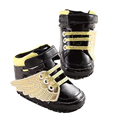 Mjun Baby Girls Toddlers Shoes Anti-slip Sneakers Angel Wings Boots Shoes (0-6 months, black)
