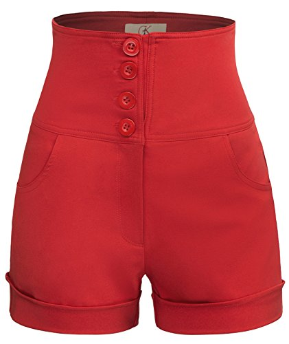 Womens Solid High Waisted Button Front Sailor Shorts Size XL Red