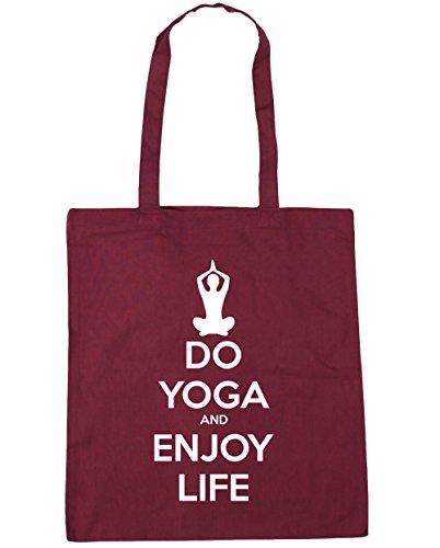 HippoWarehouse Do Yoga und Enjoy Leben Einkaufstasche Fitnessstudio Strandtasche 42cm x38cm, 10 liter - Weinrot, One size