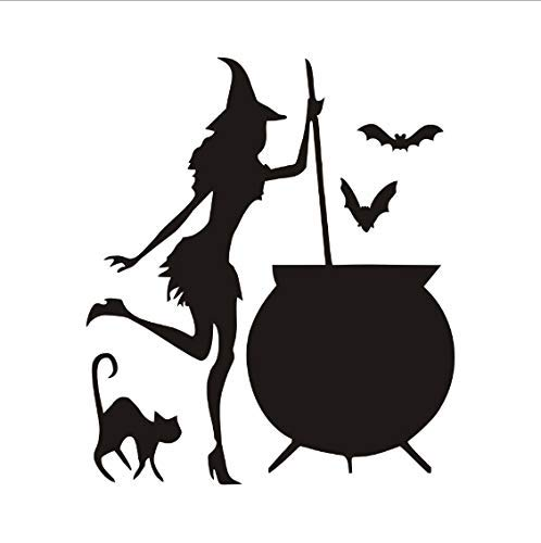 JQSM Witch Cauldron Potion Bats Black Cat Vinyl DIY Wall Stickers for Living Room Art Wallpaper Home Halloween Decoration 43x37cm