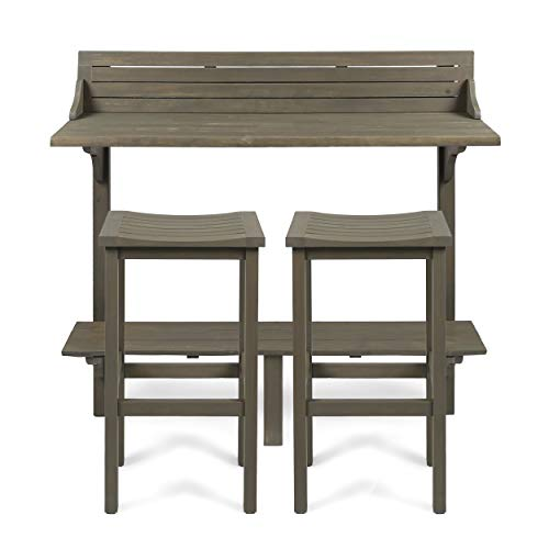 Christopher Knight Home 304147 Cassie Outdoor 3 Piece Grey Finish Acacia Wood Balcony Bar Set