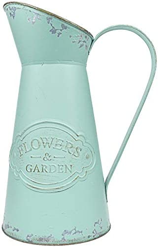 YHOMBES Shabby Chic Metal Jug Vase Pitcher Flower Holder Green French Style Rustic Farmhouse Vase for Home Decoration