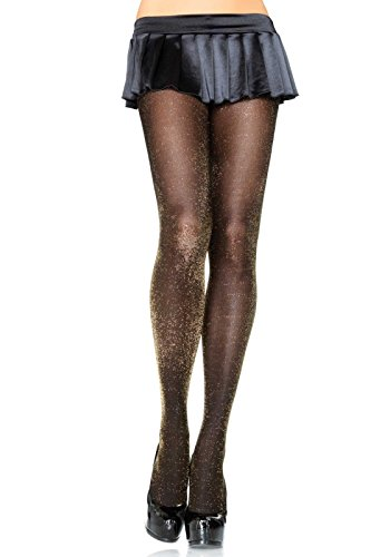 Black Shimmer Tights - Leg Avenue Women's Glitter Lurex Tights, Black/Gold, One Size