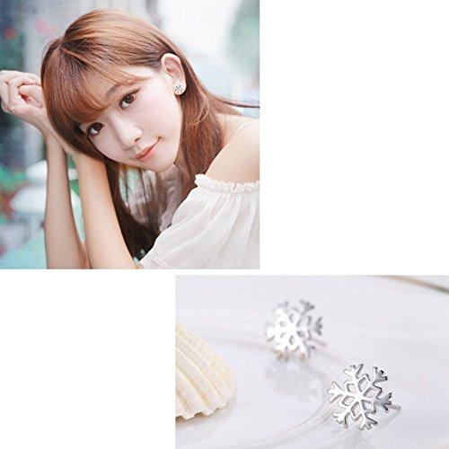 Qingsun Boucles doreilles Femme Fille Motif Flocon de Neige Boucles doreilles Forme de Flocon de Neige
