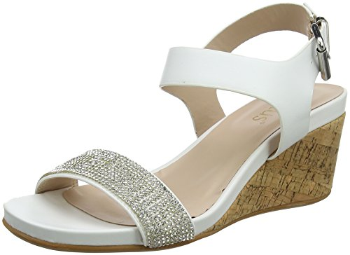 Lotus Damen Ace Offene Sandalen mit Keilabsatz White (White/Glitz)