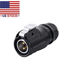 CNLINKO 2 Pin Power Industrial Circular Connector, Male Plug, Fit RV Solar Port, Outdoor Waterproof IP67, AC DC Signal, Fit Furrion, Grand Design, Forrest River RV Solar Ports