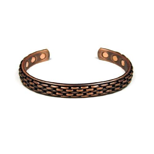 Accents Kingdom Magnetic Copper Therapy Arthritis Relief Golf Cuff Bangle Bracelet, Basket (Basket Bangle Bracelet)