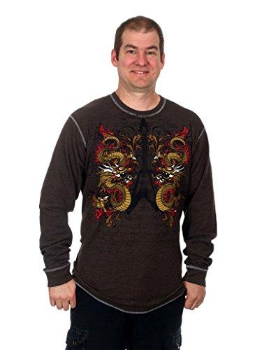Hybrid Vintage Men's Graphic Print Long Sleeve Thermal Style Shirt (Dragon, X-Large)
