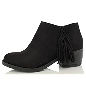 Soda Women's Doctor Faux Suede Fringe Round Toe Low Heel Ankle Boot, Black, 7.5 M US