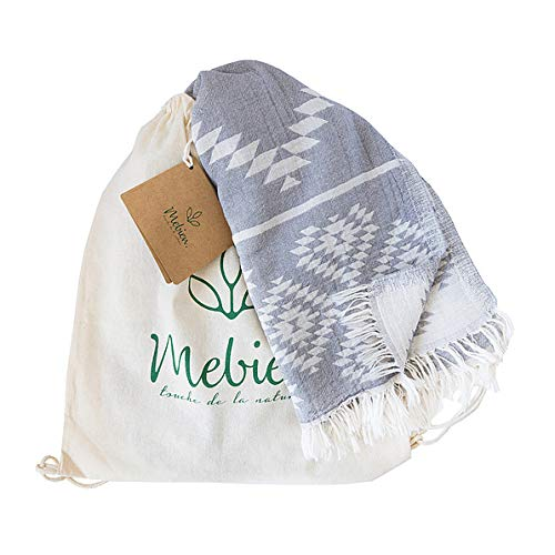 (Mebien Vintage Design Turkish towels beach pesthemal towel for bath pools spas gyms saunas. Multi-purpose throw or blanket to your couch sofa bed picnic for baby women man. 100% cotton (Dark Grey))