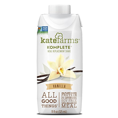 Vanilla Meal - Vanilla Meal Replacement Shake by Kate Farms, Gluten Free, Nut Free, Dairy Free, Organic Plant Protein Ready to Drink, Case of 12