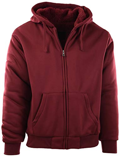 - Mens Full Zipper Fleece Basic Hoodie with Lining to Choose from (3XL, 91008-Burgundy)