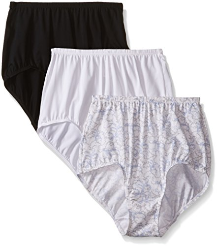 - Olga Women's Plus Size 3 Pack Without A Stitch Brief Panty, Wht/ChilledBlScrollPrint/Black 6