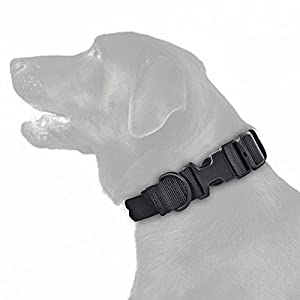 SlowTon Tactical Dog Collar, Adjustable Length Durable Nylon Webbing Strap with Carry Handle, Soft Cover, Metal D Ring… Click on image for further info.