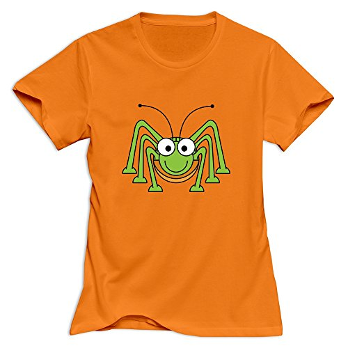 Women's Cool Style Normal Fit Cute Green Spider T-Shirt Orange US Size M