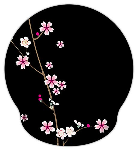 Blossom Plum Designs - Meffort Inc Mouse Pad with Wrist Rest Support & Non-Slip Base, Durable Ergonomic Gaming Mousepad - Plum Blossoms Design