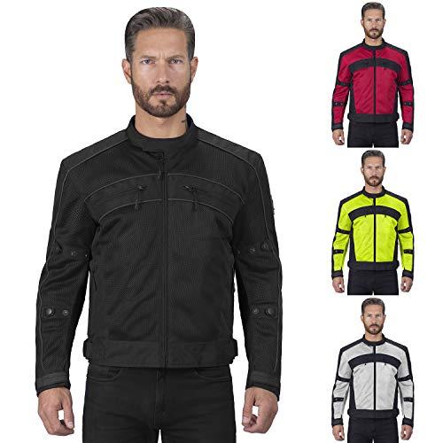 Viking Cycle Ironside Mesh Motorcycle Jacket For Men (X-Large, Black)