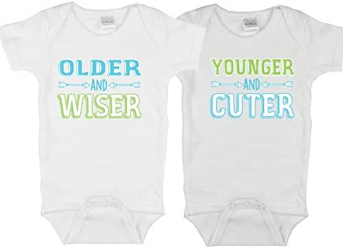 Unisex Twin Bodysuits, Includes 2 Bodysuits, Twin 1 Twin 2, Womb mates