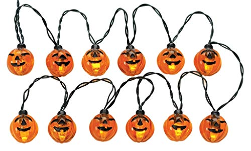 Lemax 24759 12 LIGHTED PUMPKIN GARLAND STRING B/O Spooky Town Accessory Halloween Decor ()
