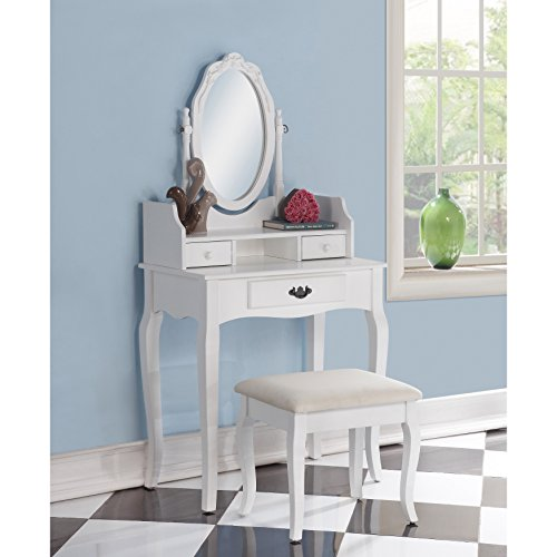 Roundhill Furniture Ribbon Wood Make-Up Vanity Table and Stool Set, White - Furniture Vanity