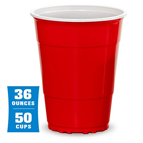 GoBig 36oz Giant Red Party Cups 50 Pack | Holds Twice as Much as Standard Party Cups | Includes 4 XL Pong Balls Beer Pong Flip Cup