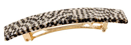 - France Luxe Luxury Rectangle Barrette, Opera Silver - Classic French Design for Everyday Wear