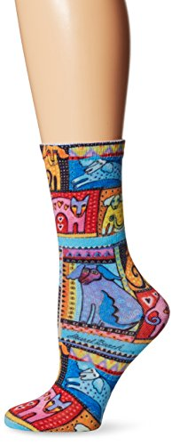 Laurel Burch Womens Single Pack Novelty Animal Crew Socks, Colorful Dogs, 9-11