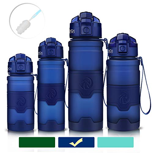 (ZORRI Sports Water Bottle Leak Proof, BPA Free Reusable Portable Sports Bottle for Outdoors, Cycling, Camping, Hiking, Fitness, Running, Gym Bottles with Filter, One Click Flip Cap - for)