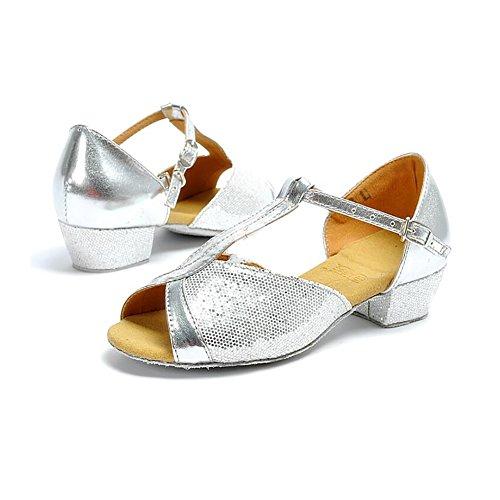 Größe Tanzschuhe Low B B amp; Farbe Gold 39 Silber Sandale Damen Ballsaal Abend Party XUE Latein Schuhe Schuhe Kunstleder Heel ABRAq1