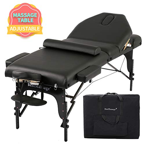 Massage Table Massage Bed Spa Bed Height Adjustable Massage Bed 77 Inches Long 30 Inches Wide Salon Bed 4 Inches Thick Density Memory Sponge Foam 3 Folding Portable Massage Table W/Carry Case Bolster
