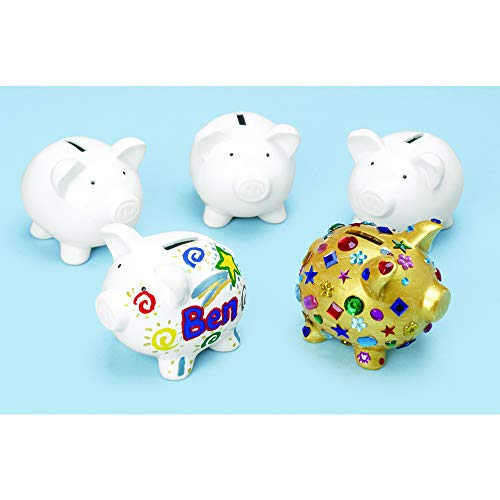Piggy Bank Parties (Colorations Decorate Your Own Piggy Bank, Ceramic, Set of 12, Coated Ceramic, DIY, Arts & Crafts, Gifts, Budgeting, Savings, for Kids, Educational, Craft)