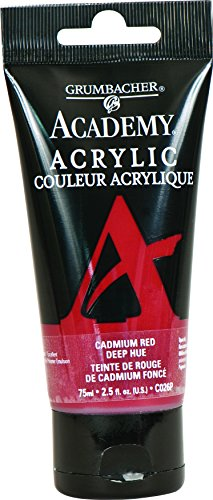 Price comparison product image Grumbacher Academy Acrylic Paint,  75ml / 2.5 Ounce Plastic Tube,  Cadmium Red Deep Hue (C026P)