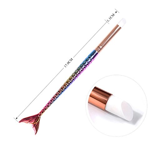 (Women's Silicone Nail Pen, Iuhan Silicone Nail Art Dotting Manicure Painting Drawing Polish Brush Pen Tool (E))