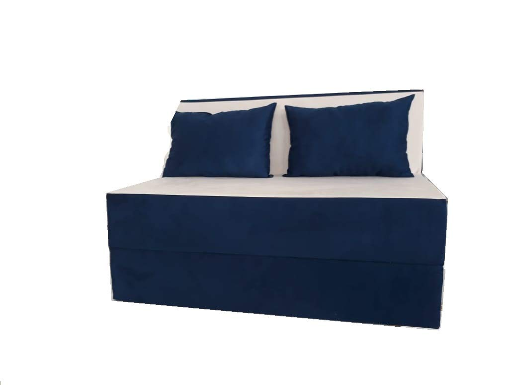 Surprising Sofa Bed Duo Two Seater Sofa With 2 Cushions Dark Blue Camellatalisay Diy Chair Ideas Camellatalisaycom