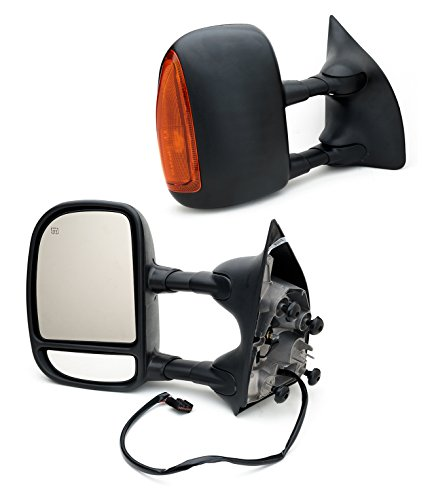 - VX Towing Mirror for 99-07 Ford F250 F350 F450 F550 Power Heated with Yellow Signal Light,Black