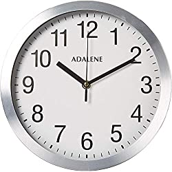 Adalene Modern Metal Wall Clock Silent - 10 Inch Analog Wall Clocks Battery Operated Non Ticking - White Face Aluminum Wall Clocks Decorative Living Room Décor, Kitchen, Bedroom, Bathroom, Office
