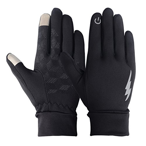 Unisex Touch Screen Gloves - Winter Warm Thermal Gloves Outdoors Gloves Cycling Gloves Running Gloves Cold Weather Gloves Texting Gloves Driving Gloves for Men and Women (Black, L) (Coat Athletic Cotton)