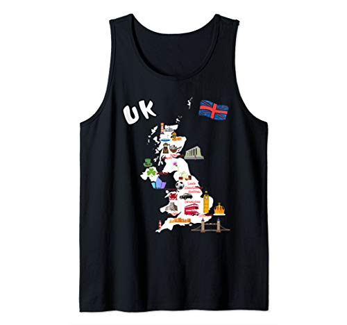 Map of United Kingdom Attractions, cities, flag T-shirt  Tank Top