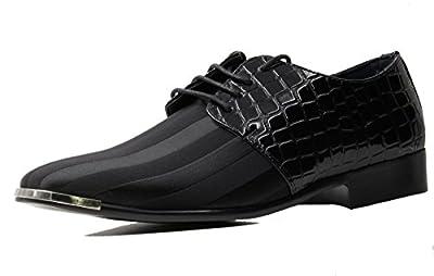Stylish & Comfort Men's Crocodile Stripes Pattern Dress Oxford Shoes