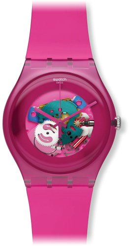 Swatch Pink Lacquered SUOP100 Plastic Case Pink Plastic Women's Watch