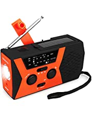 Retekess HR12W Portable Emergency Radio Solar Crank AM FM NOAA Dynamo with Reading Lamp SOS Flashlight LED Reading Lamp and 2000mAh Power Bank