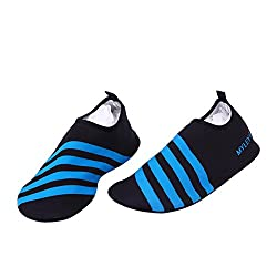 LUXUR Running stripes Skin Shoes Flexible Barefoot Flats suitable for Indoor and Outdoor Yoga Sports Unisex Blue Medium