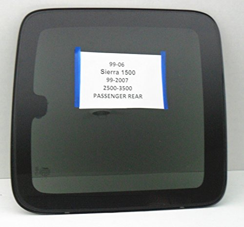 Fits 1999-2006 GMC Sierra (C1500 C2500 C3500 K1500 K2500 K3500) 2 Door Extended Pickup Passenger Side Right Rear Quarter Glass Window Movable W/Frame & Latch