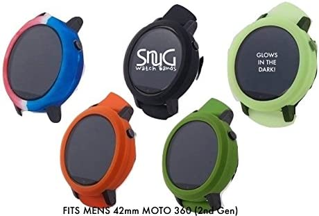SnuG Watchbands Moto360 MENS 42mm Watch Bumper Cases for the smaller Mens 2nd Gen Moto 360 - watch band not included - Black / Glow in the Dark / ...